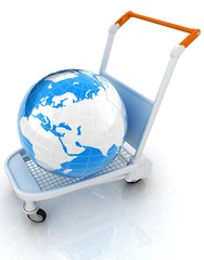 Trolley for luggage at the airport and earth. International tour