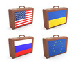 Suitcases with flags