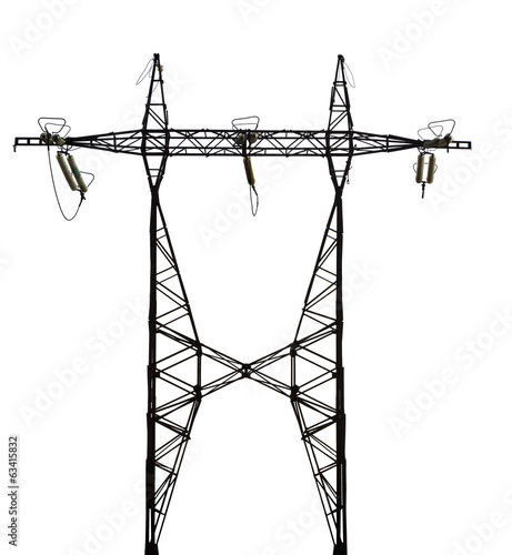 single twin electrical steel pylon isolated on white