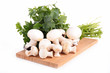 canvas print picture - raw mushroom and parsley