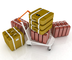 Trolley for luggage at the airport and luggage