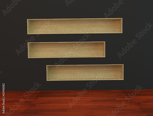 Wood book Shelf built-in  wall on black Background