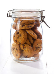 Chocolate  cookies in a glass jar