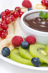 fresh fruit and berries, chocolate sauce, selective focus