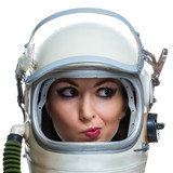 Young smiling woman wearing vintage space helmet isolated on whi