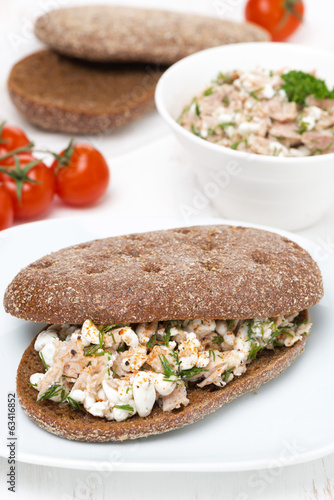 sandwich of rye bread with tuna, homemade cheese and dill