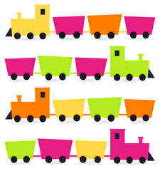 Colorful Trains set isolated on white ( pink, orange, green )