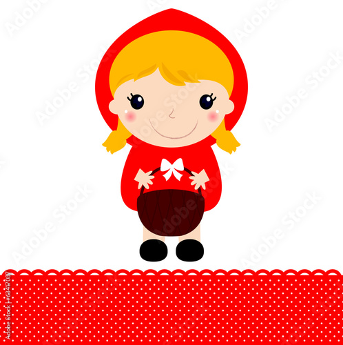 Little Red riding hood with basket isolated on white