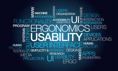 Usability ergonomics user interface tag cloud illustration