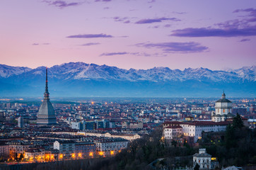 Turin (Torino), twilight panorama with Mole Antonelliana and Alp
