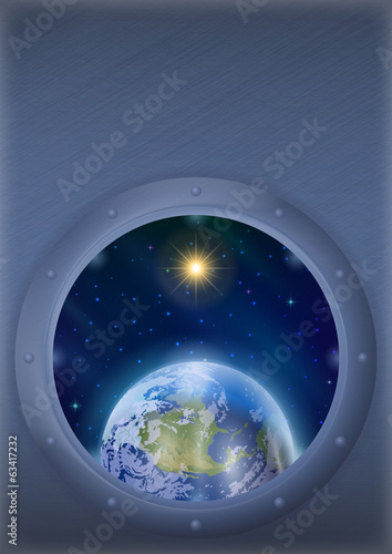 Earth and sun in space window