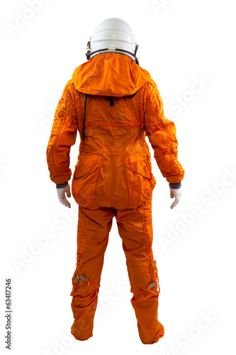 Astronaut isolated on a white background. Cosmonaut wearing spac
