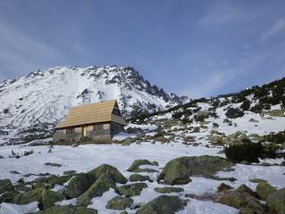 Domek w śnieżnej, górskiej dolinie