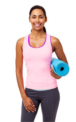 Confident Fit Woman With Exercise Mat