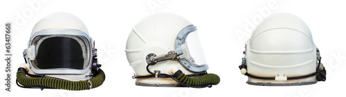 In de dag Nasa Set of astronaut helmets isolated on a white background.