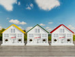 Three small white houses for sale, rent.