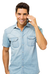 Portrait Of Smiling Man Answering Smart Phone