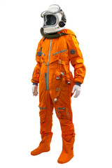 Spaceman wearing orange suit isolated against a white background