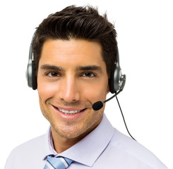 Male Call Center Representative Wearing Headset