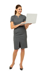 Businesswoman Using Laptop Over White Background