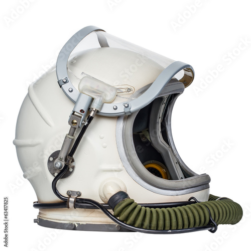 Space helmet isolated against a white background. - 63417825