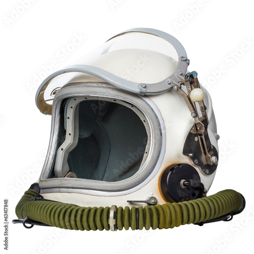 Foto op Canvas Nasa Astronaut's space helmet isolated on a white background.