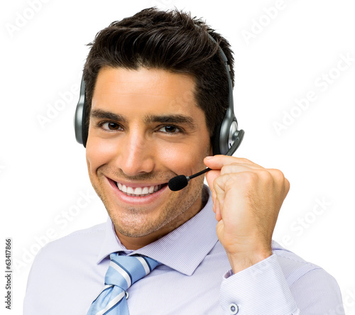Call Center Representative Talking On Headset