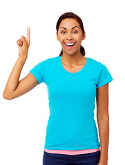 Confident Woman With An Idea Pointing Upwards
