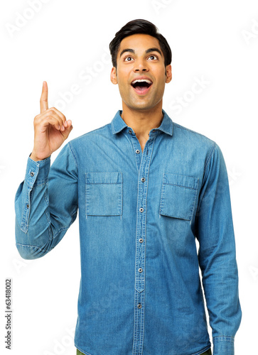 Shocked Man With An Idea Pointing Upwards
