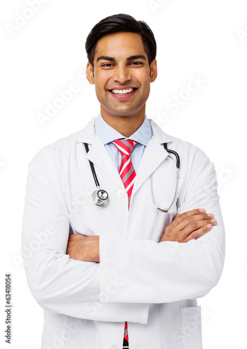Confident Male Doctor Standing Arms Crossed