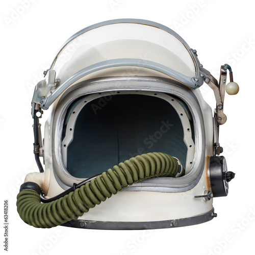 Vintage space helmet isolated against a white background.