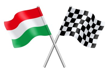 Flags : Hungary and checkerboard