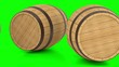 Wooden barrels with wine or beer greenscreen
