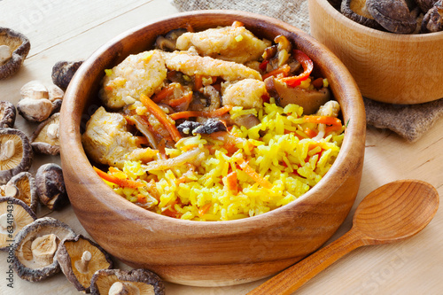 chicken curry with pilau rice and shiitake mushrooms