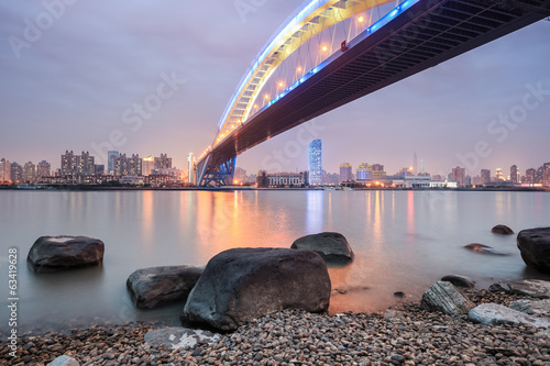 shanghai lupu bridge in nightfall