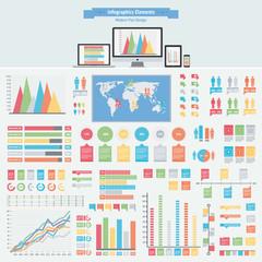 flat infographics elements