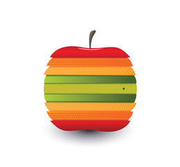 Digitally generated apple with different colour slices
