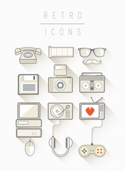 Retro icons vector in simple cool style