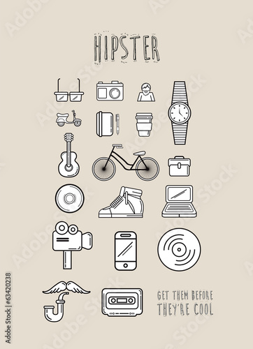 Hipster icons in simple design