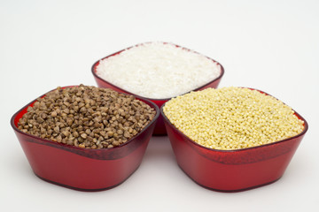 White rice, buckwheat and barley