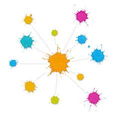 Infographic Interconnected Network of Paint Splashes