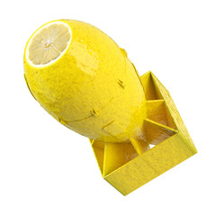 Lemon bomb concept. Isolated aviation rocket made from fruit