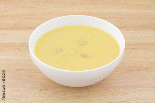 Chicken Soup In White Bowl On Wood Table