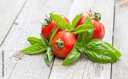 Fresh ripe tomatoes and basil