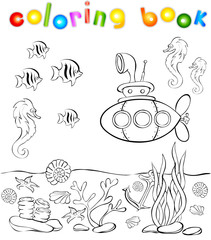 Coloring book with submarine