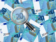magnifier on twenty euro background