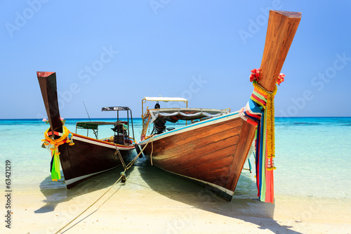 Long tailed boat at Koh Rok (Rok island), Thailand.