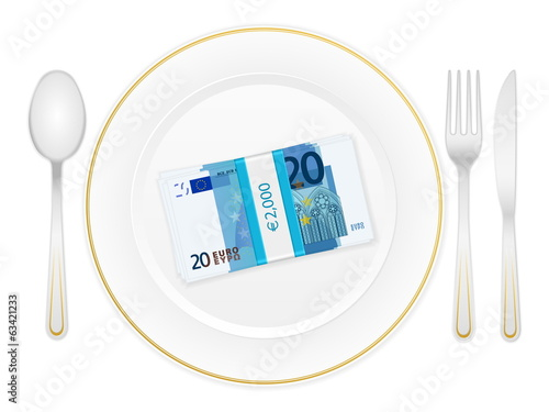 plate cutlery and twenty euro pack