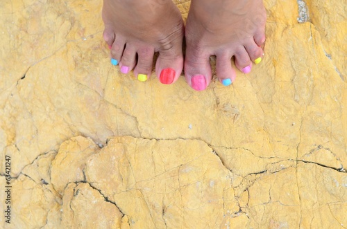 Colored toenails