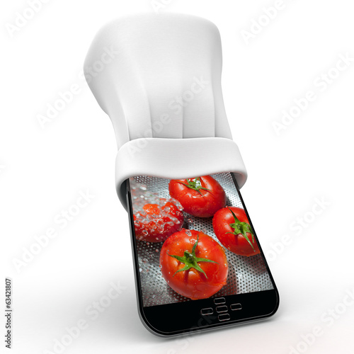 Smartphone and tomatoes